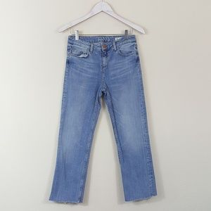 Zara Z1975 Raw Hem Straight Leg Cropped Jeans 4